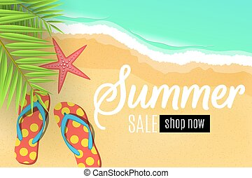 Advertising web banner for the summer sale. Flip flops on the beach. Leaves of a palm tree. Special offer. Seasonal discounts. Starfish. Top view. Cartoon flat style. Vector illustration