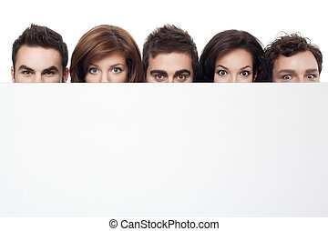 advertising with funny faces - big eyes showing behind copy...