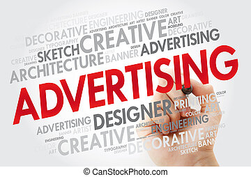ADVERTISING word cloud with marker