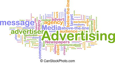 Word cloud concept illustration of advertising marketing