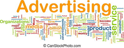 Word cloud concept illustration of media advertising