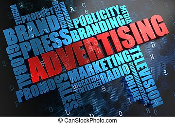 advertising., wordcloud, concept.