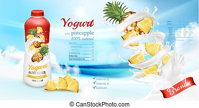 advertisment, vector, diseño, piña, yogur, bottle., blanco, ...