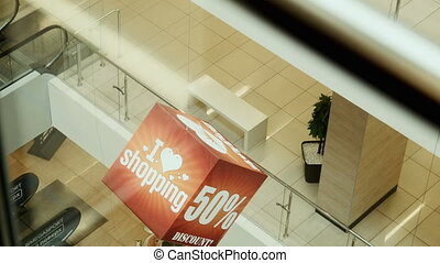 advertizing cube view from elevator - advertizing cube at a...