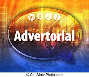 advertorial, negócio, termo, borbulho fala, ilustração