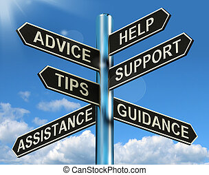 Advice Help Support And Tips Signpost Shows Information And...