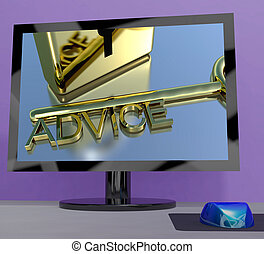 Advice Key On Computer Screen Showing Assistance