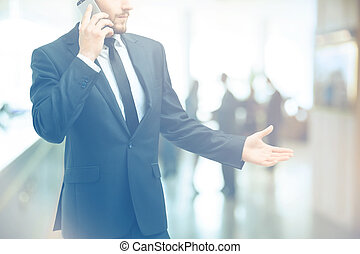 advice over the phone. consultant talking to client on the smartphone.