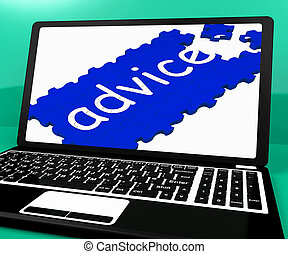 Advice Puzzle On Notebook Shows Online Advisory