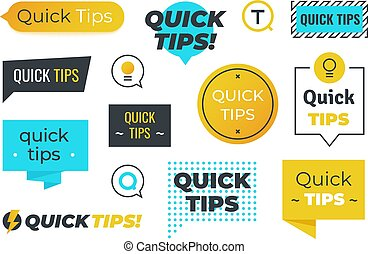 Advice shapes. Quick tips helpful tricks emblems and logos, ...