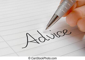 Advice word handwriting