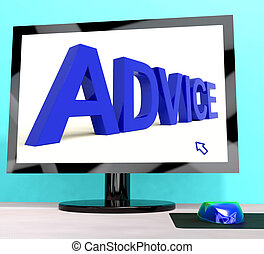Advice Word On Computer Screen Showing Assistance