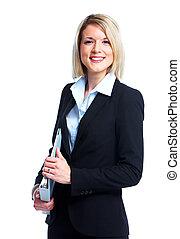 adviser, lady., finansielle, firma