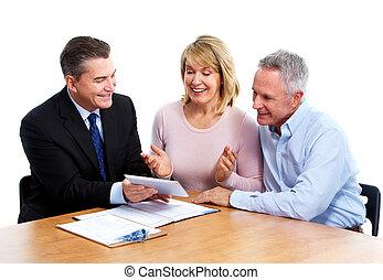 adviser., personne agee, financier, couple