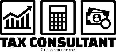 adviseur, belasting, iconen