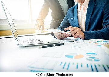 adviseur, financiële vormen, zakelijk, bedrijf, werken, denoting, analyzing, voortgang