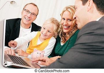 adviseur, financiën, verzekering, -, gezin