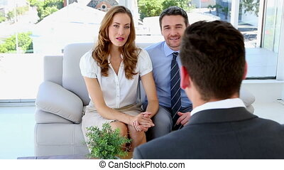 adviseur, paar, hun, klesten, financieel