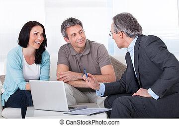 adviseur, paar, vergadering