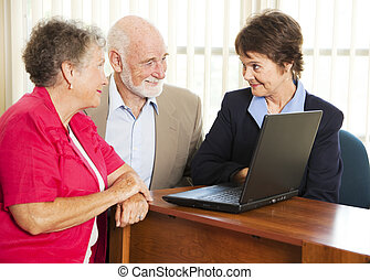 adviseur, senior, financieel, paar