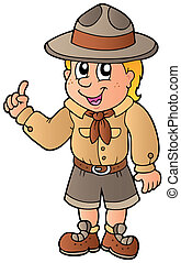 Advising scout boy - vector illustration.