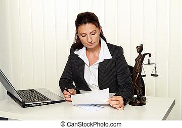 advocaat, in, de, kantoor., pleitbezorger, voor, wet, en, order