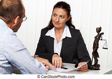 advocaat, in, de, kantoor.