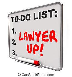 advocaat, op, om lijst te doen, huren, advocaat, wettelijk,...