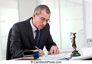 advocaat, op, zijn, werkplaats