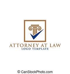 advocaat, zuil, element, ontwerp, logo, wet
