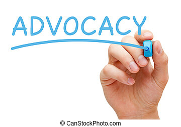 Advocacy Blue Marker - Hand writing Advocacy with blue...