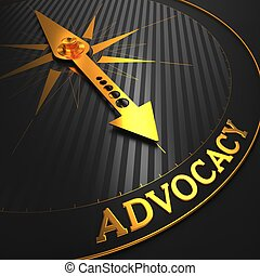 """Advocacy - Business Background. Golden Compass Needle on a Black Field Pointing to the Word """"Advocacy"""". 3D Render."""