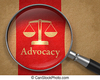 Advocacy Concept: Magnifying Glass with Word Advocacy and Icon of Scales in Balance on Old Paper with Red Vertical Line Background.