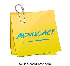 advocacy memo post sign concept