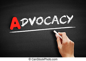 Advocacy text on blackboard, law concept background