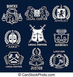Advocacy vector icons set for legal justice lawyer