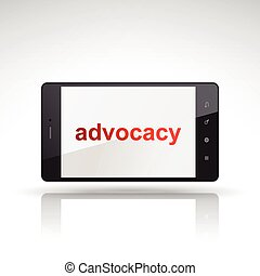advocacy word on mobile phone isolated on white