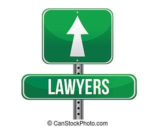 advocaten, wegaanduiding, illustratie, ontwerp