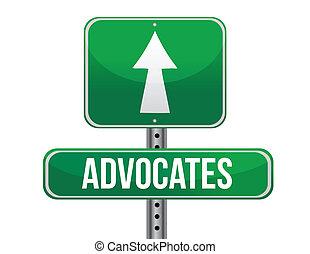 advocates road sign illustration design over a white background