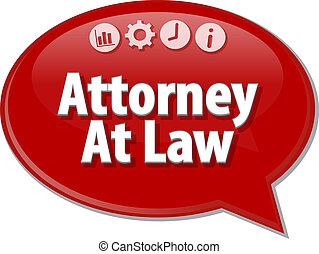 advogado, em, lei, negócio, termo, borbulho fala, ilustração