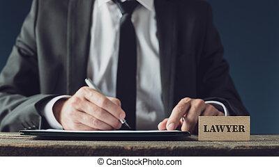 advogado, legal, assinando documento