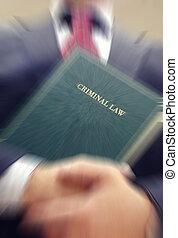 advogado, segurando, um, criminal, livro lei