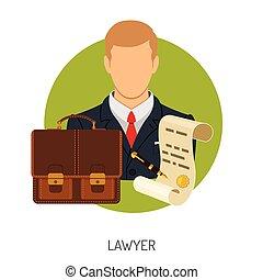 advokát, ikona, s, aktovka