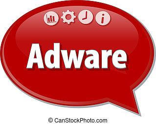 Adware Business term speech bubble illustration - Speech...