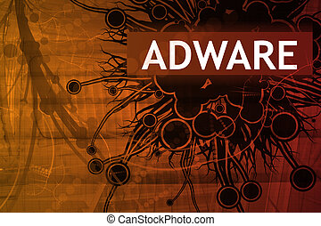 Adware Security Alert Abstract Background in Red
