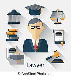 adwokat, pojęcie, wektor, jurysta, tło, prawnik, albo