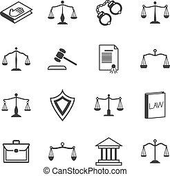 adwokat, sprawiedliwość, sędziowski, ustawodawstwo, system, icons., znaki, prawo, werdykt