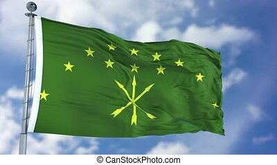 Adygea Flag in a Blue Sky