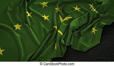 Adygea Flag Wrinkled On Dark Background 3D Render