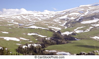 Adygeya. Mountain plateau Lagonaki - Snow on the sloping...